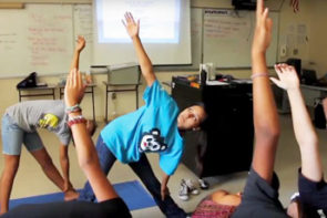 Students stretching