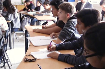 Students sitting at desks.