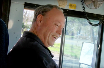 Tom Ryel driving school bus