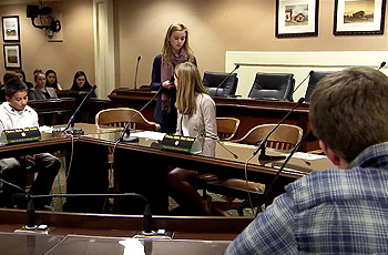 High school students in mock senate at California State capitol, Sacramento