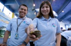 students holding sea creature
