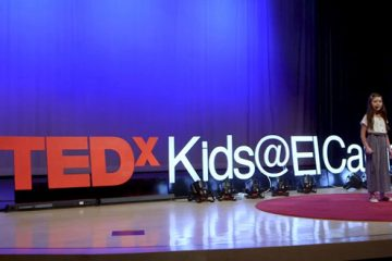 young girl speaker at tedx kids el cajon talk