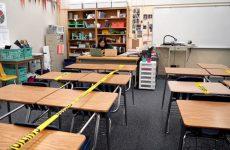 empty classroom at john f. kennedy high school in sacramento