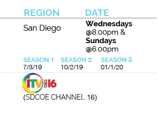 san diego air date for inside california education, Wednesdays@8pm and Sundays @6pm. Start dates as follows: for season 1 on July 3, 2019, for season 2 on October 2, 2019, and for season 3 on January 1, 2020 for sdcoe channel itv 16
