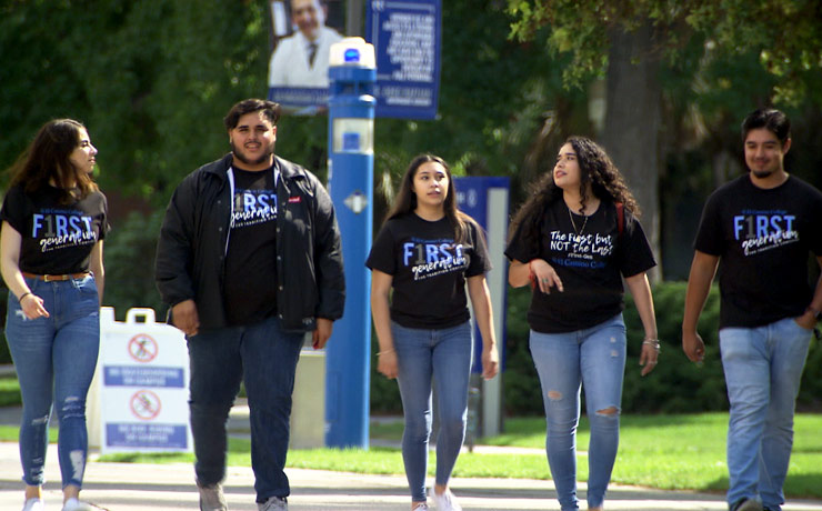 firstgen students walking together on campus