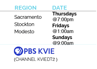 sacramento, stockton, modesto, channel kviedt, thursdays at 7pm, fridays at 1am and sundays at 9am